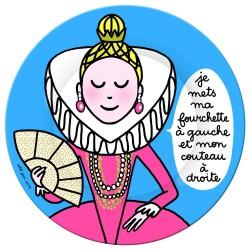 """Assiette Princesse Petit Jour Paris """"Je mets ma fourchette.."""""""