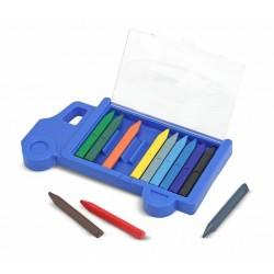 12 crayons de cire avec étui Camion