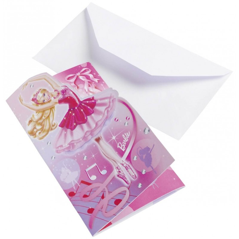 Lot de 6 cartons invitations Anniversaire Barbie rêve de danseuse etoile