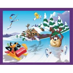 Puzzle 45 pièces Looney Tunes au ski