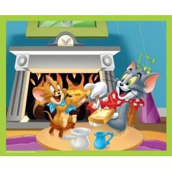 Puzzle 60 pièces Tom et Jerry au coin du feu