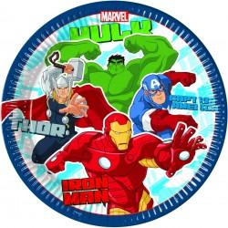 8 Assiettes en carton Avengers dessin animé