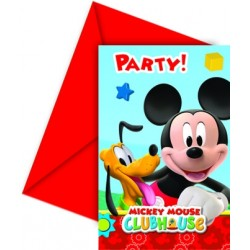 6 Invitations Anniversaire Mickey