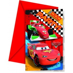6 Invitations Anniversaire Cars