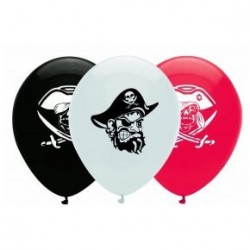 6 Ballons en latex Pirate rouge, noir et blanc 30 cm