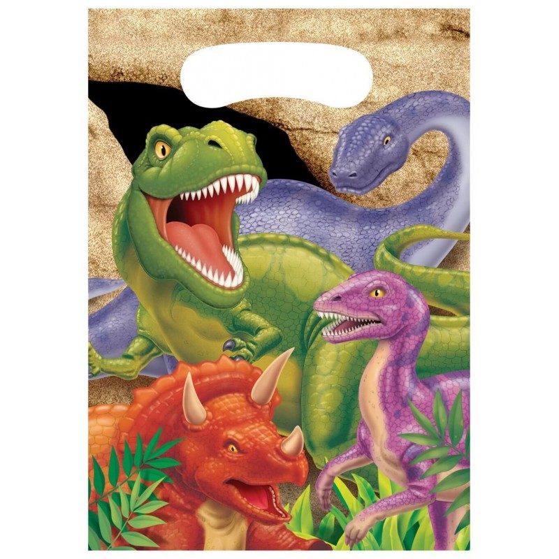 8 pochettes cadeaux anniversaire theme dinosaure