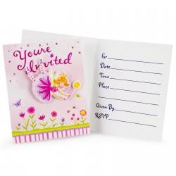6 cartes d'Invitations Fée des fleurs