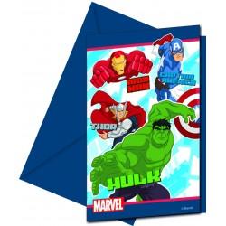 6 cartes d'Invitation Anniversaire Avengers + 6 enveloppes