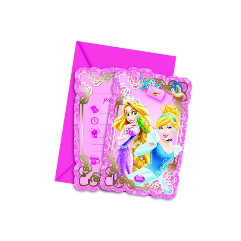 6 cartons invitations anniversaire princesses disney. Black Bedroom Furniture Sets. Home Design Ideas