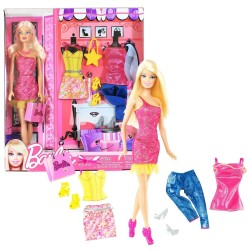 Grand Coffret Poupée Barbie et 2 tenues Mode