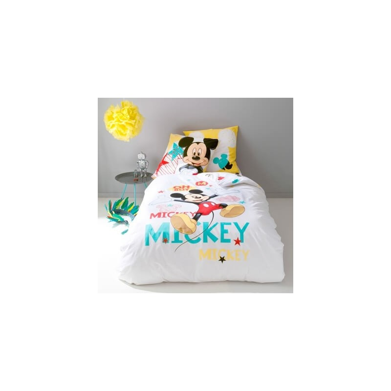 housse de couette mickey et taie d 39 oreiller. Black Bedroom Furniture Sets. Home Design Ideas
