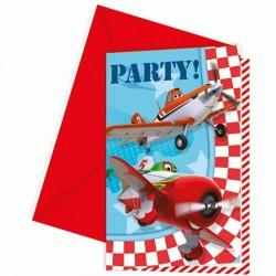 6 Invitations Anniversaire Planes