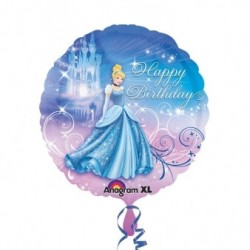 "Ballon Hélium Cendrillon ""Happy Birthday"""