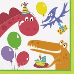 20 Serviettes en papier petits dinosaures