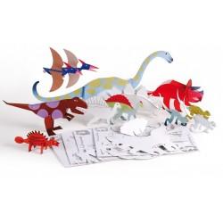 Dinodulos - 12 dinosaures en carton à assembler et à peindre