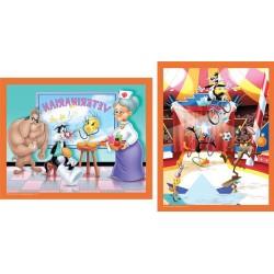 """Puzzle MB 2X25 pièces """"les Loooney Tunes au cirque et à l'hôpital"""""""