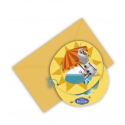 6 cartons d'invitations Olaf avec enveloppes