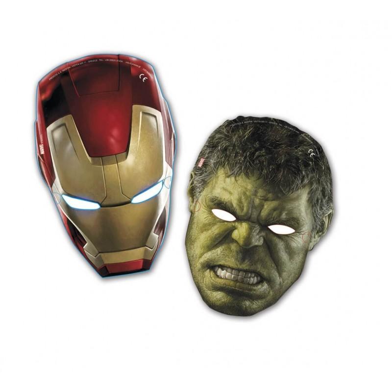 6 Masques en carton Avengers : Hulk et Iron Man