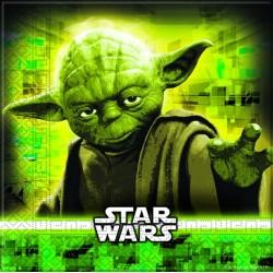 20 Serviettes en papier Star Wars avec Yoda