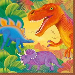 16 Serviettes en papier Dinosaures