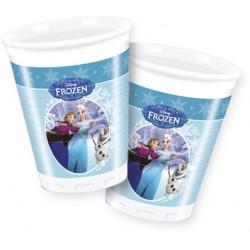 8 Gobelets plastique Reine des Neiges sur glace