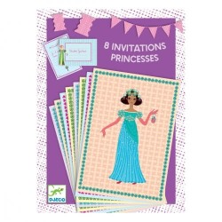 8 Invitations la fête des Princesses - DJECO
