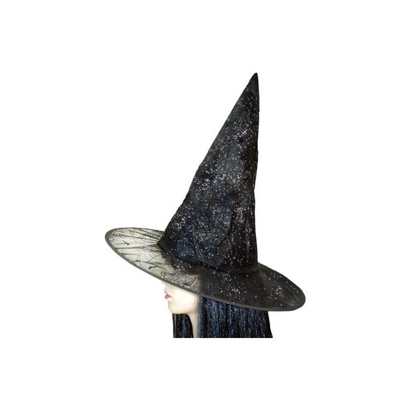 Chapeau de sorcière noir à paillettes