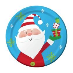8 assiettes en carton Père Noël