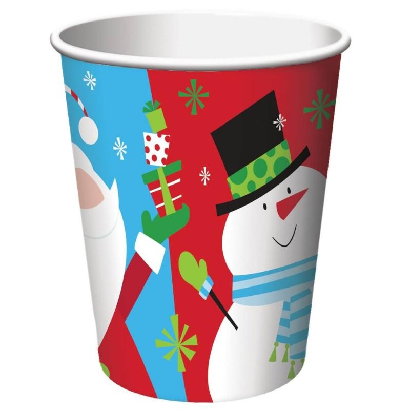 8 gobelets en carton imprimé Père Noël et Bonhomme de neige