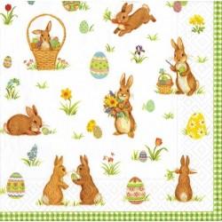 20 Serviettes en papier - Lapins de Pâques