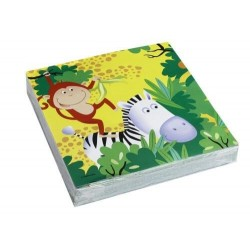 20 serviettes en papier Animaux Safari