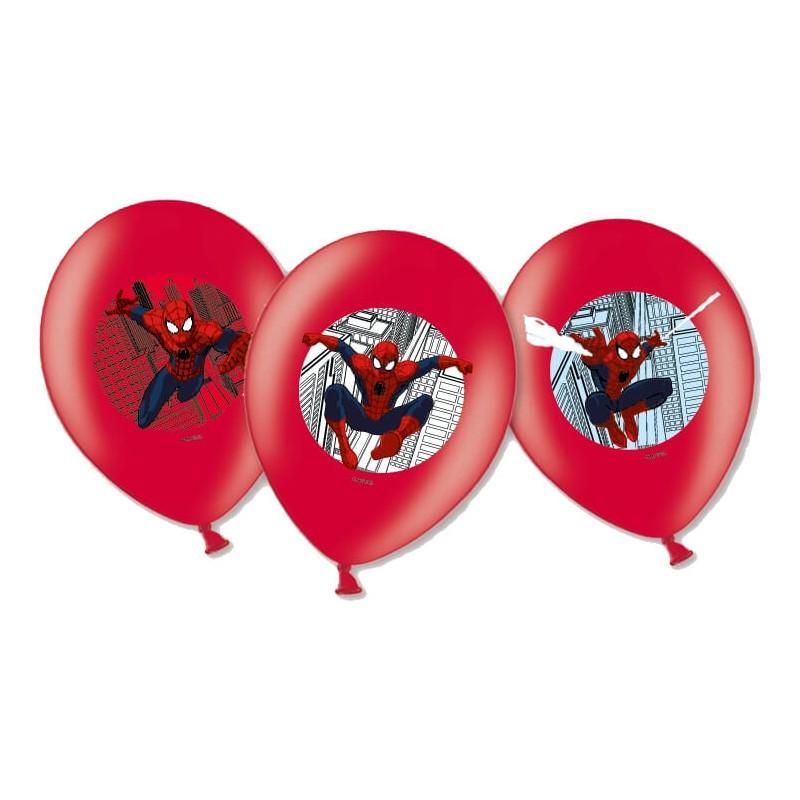6 Ballons de baudruche Spiderman™ imprimés couleurs 28 cm