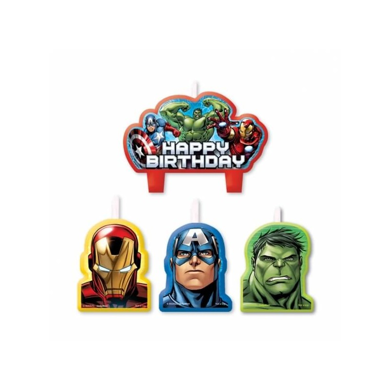 Lot de 4 bougies Avengers - Decoration gateau anniversaire