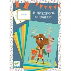 8 cartes d'invitations sur le thème petit chevalier - Djeco