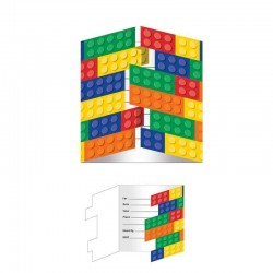 8 Invitations anniversaire Lego