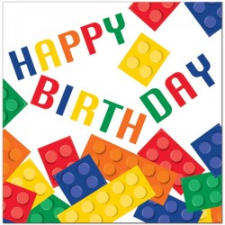 20 serviettes en papier LEGO Happy Birthday
