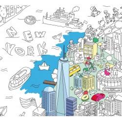 Poster New York géant à colorier - 100 x 70 cm