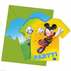 6 Cartes d'invitation Mickey foot avec enveloppes