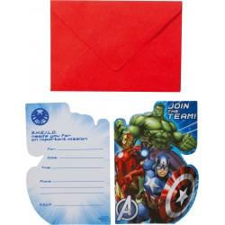 8 Cartes d'invitation & enveloppes Avengers