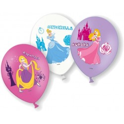 6 Ballons latex Princesses Disney en couleur