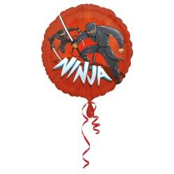 Ballon Mylar rond Ninja - 40 x 43 cm