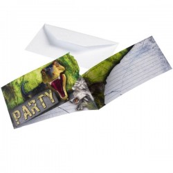 8 Cartes d'invitation Dinosaure T Rex