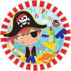 8 Assiettes en carton Little Pirate 23 cm