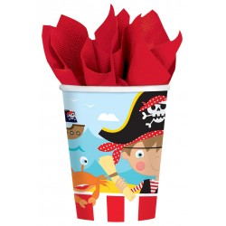 8 Gobelets carton LITTLE PIRATE