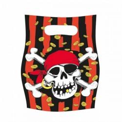 6 sacs cadeaux tete de mort Pirate