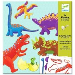 6 Pantins Dinosaures à colorier