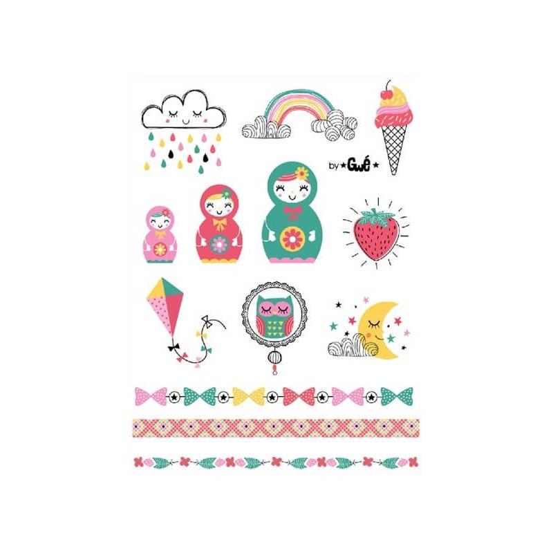 Planche de tatouages temporaires - poupées russes, arc-en-ciel, nuage, cerf-volant et Cie