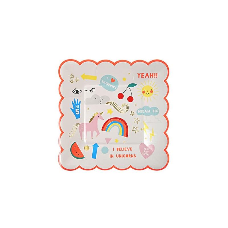 8 assiettes en carton thème Licorne et Arc en ciel - Meri Meri