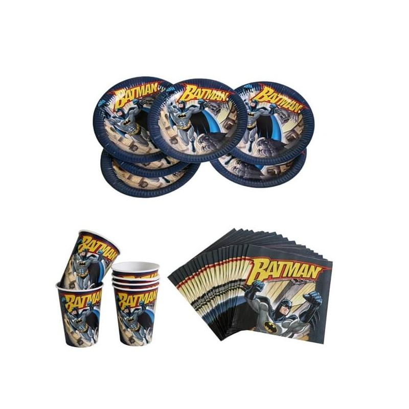 Kit vaisselle jetable Batman pour 6 enfants