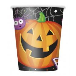 8 gobelets carton Halloween Citrouille